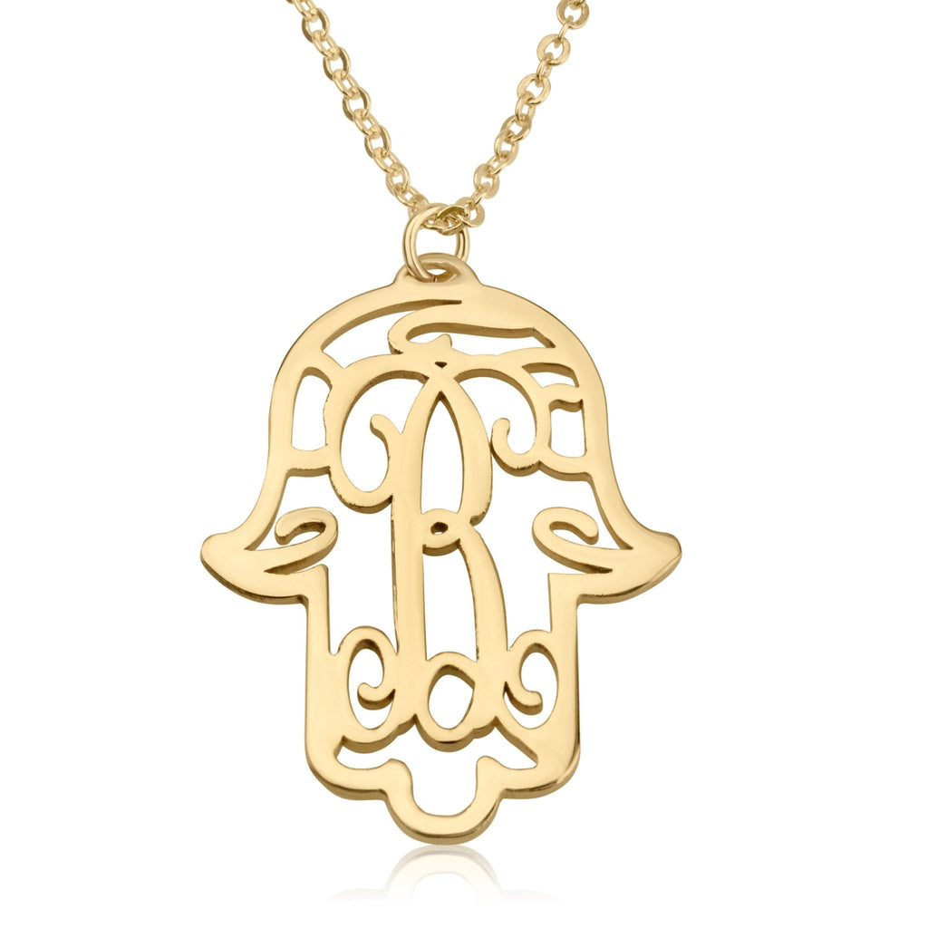 Initial Hamsa Monogram Necklace - Beleco Jewelry