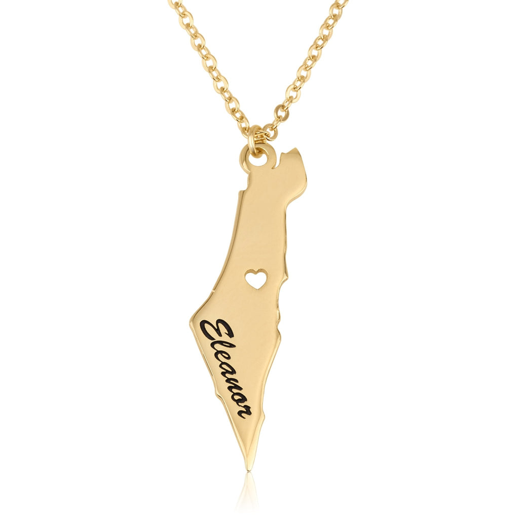 Israel Map Necklece With Name - Beleco Jewelry