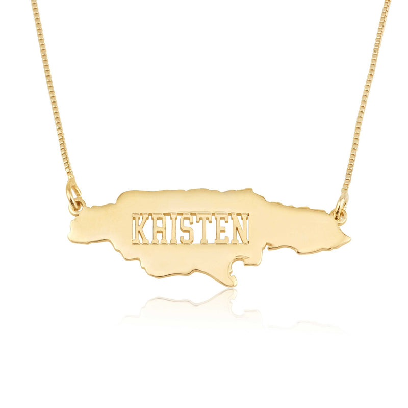 Jamaica Map Necklace With Name - Beleco Jewelry