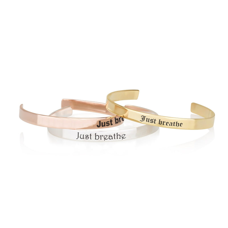 Just Breathe Engraved Cuff Bracelet - Beleco Jewelry