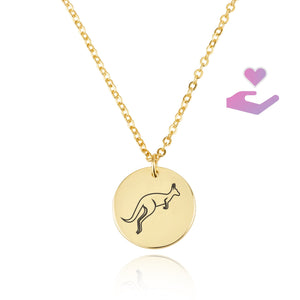 Kangaroo Engraving Disc Necklace - Beleco Jewelry