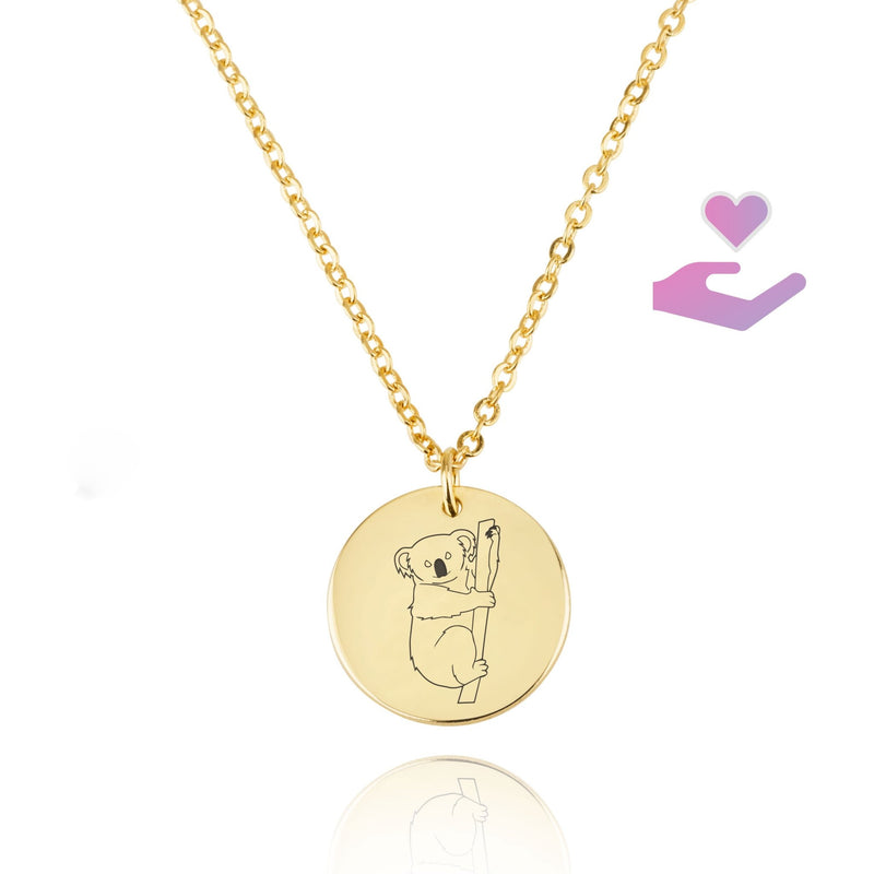 Koala Engraving Disc Necklace - Beleco Jewelry