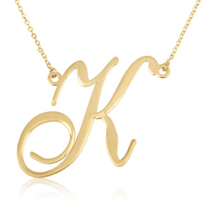 Large Initial Necklace In Cursive Font - Beleco Jewelry