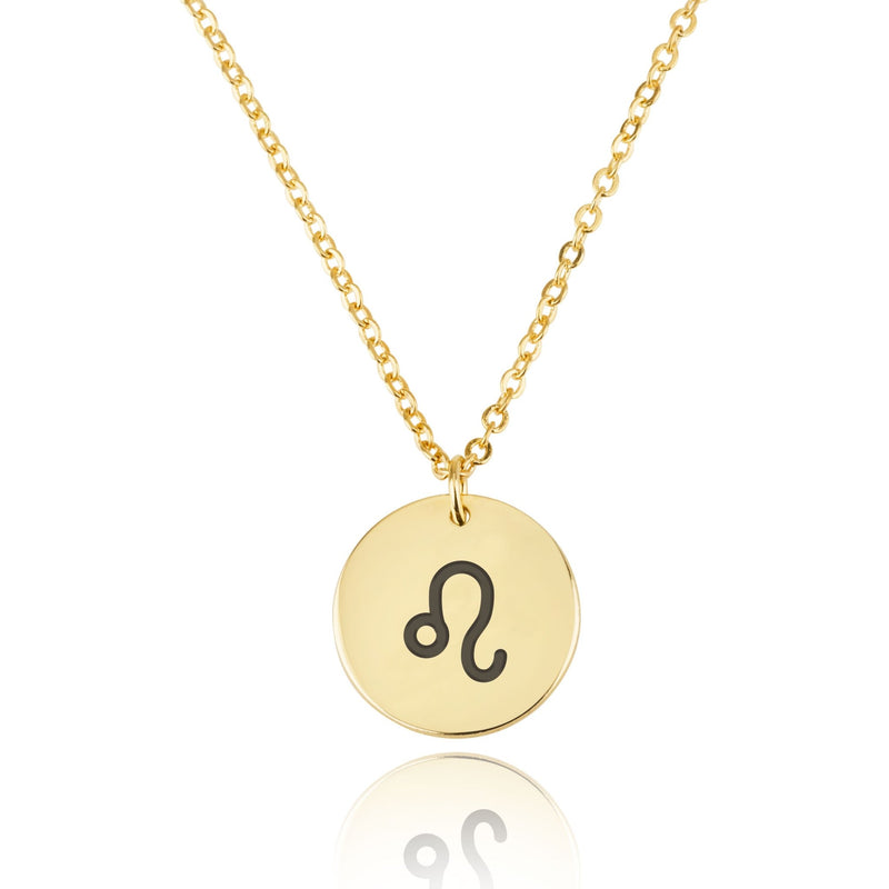 Leo Zodiac Sign Disk Necklace - Beleco Jewelry