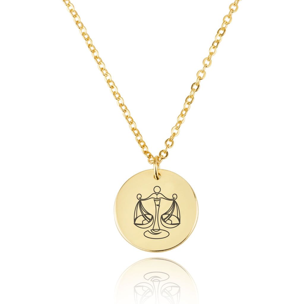 Libra Zodiac Disk Necklace - Beleco Jewelry