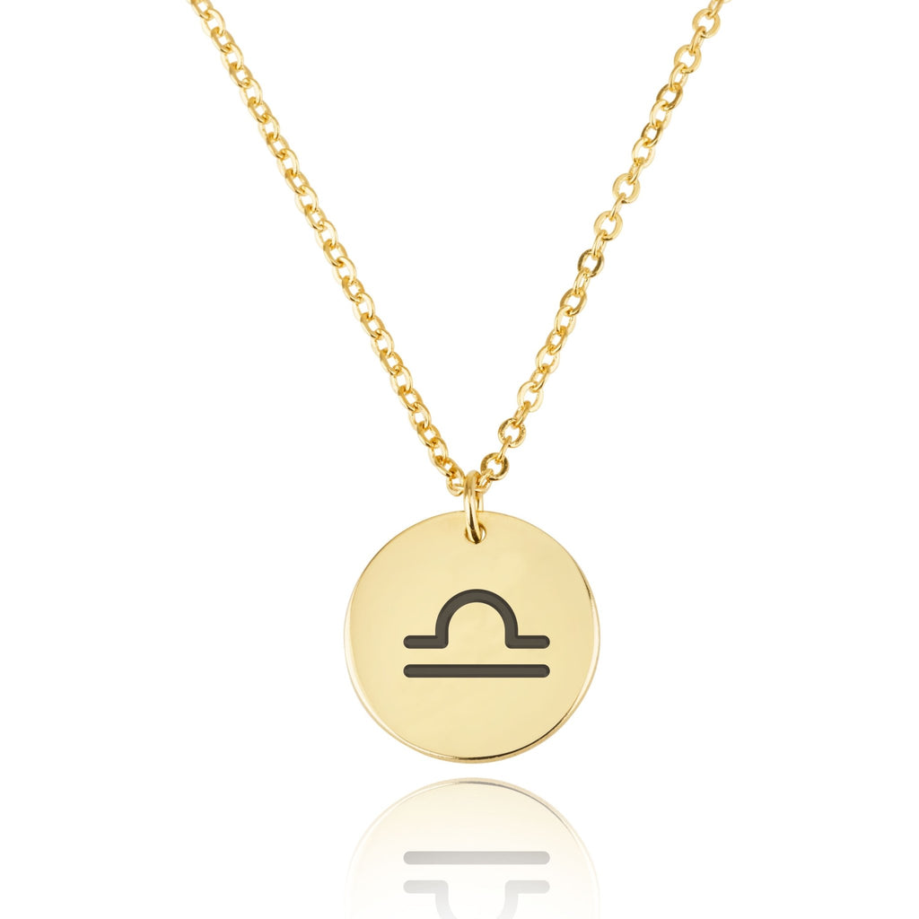 Libra Zodiac Sign Disk Necklace - Beleco Jewelry