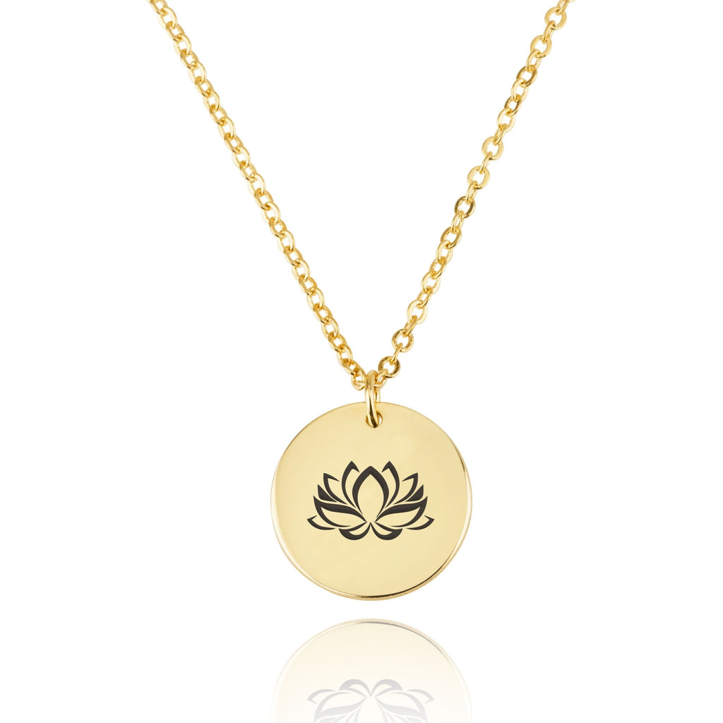Lotus Engraving Disc Necklace - Beleco Jewelry