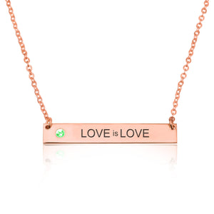 LOVE is LOVE Bar Necklace With Birthstone - Beleco Jewelry