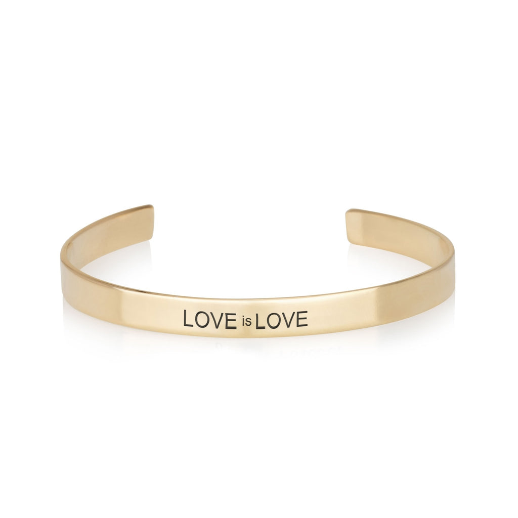LOVE is LOVE Engraved Cuff Bracelet - Beleco Jewelry