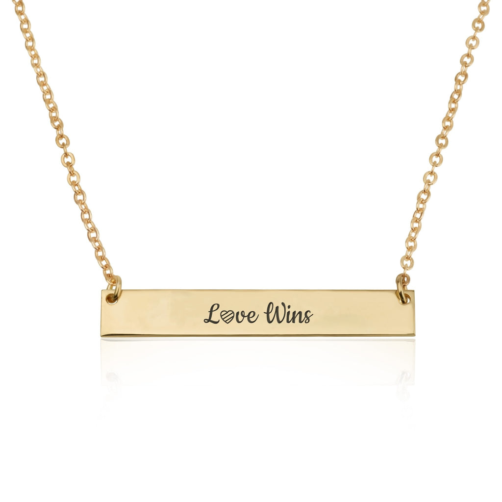 LOVE WINS Bar Necklace - Beleco Jewelry