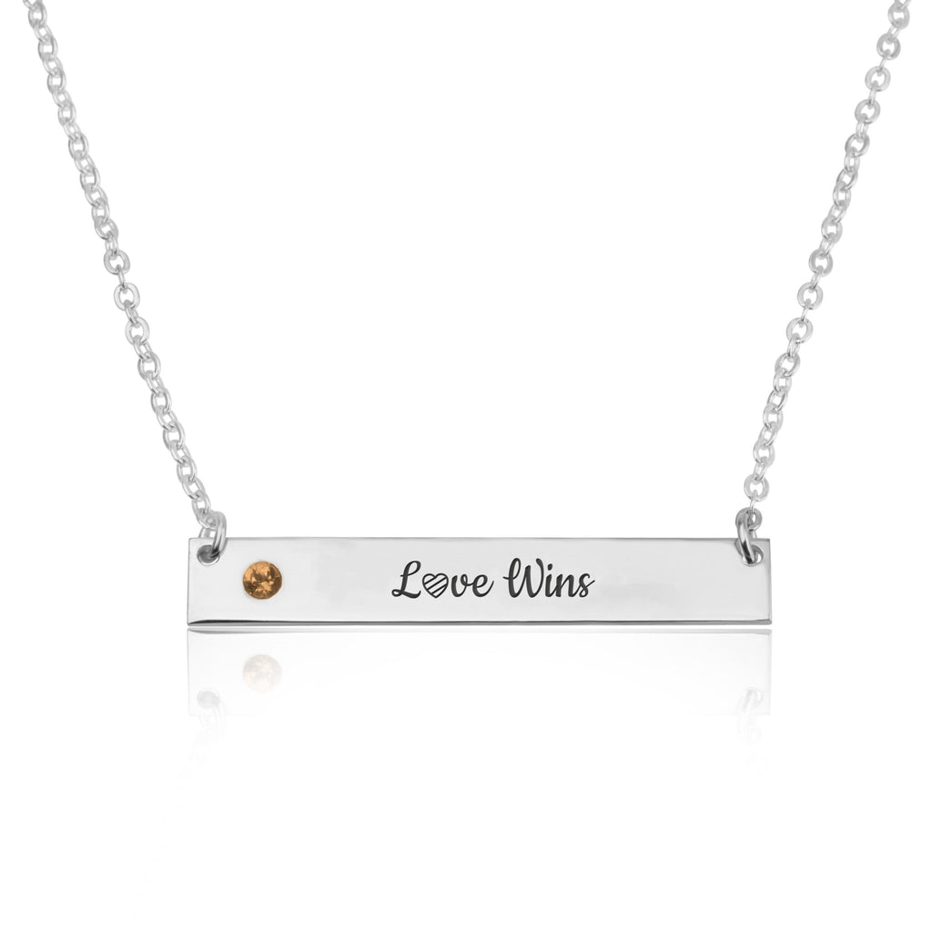 LOVE WINS Bar Necklace With Birthstone - Beleco Jewelry