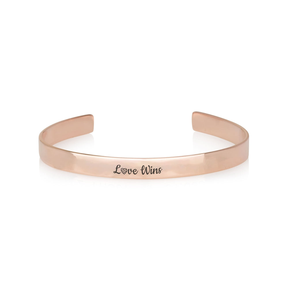 LOVE WINS Engraved Cuff Bracelet - Beleco Jewelry