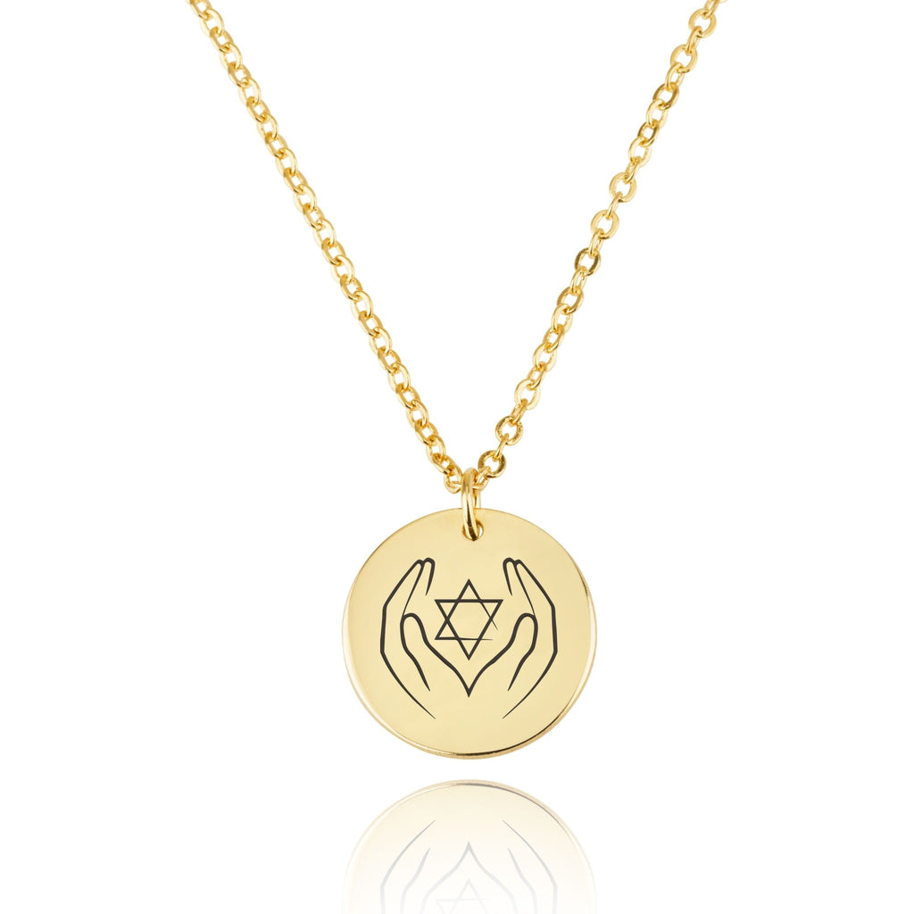 Magen David Engraving Disc Necklace - Beleco Jewelry