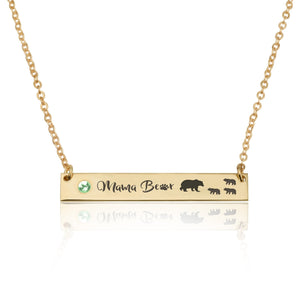 Mama Bear Necklace With Swarovski Birthstone - Beleco Jewelry
