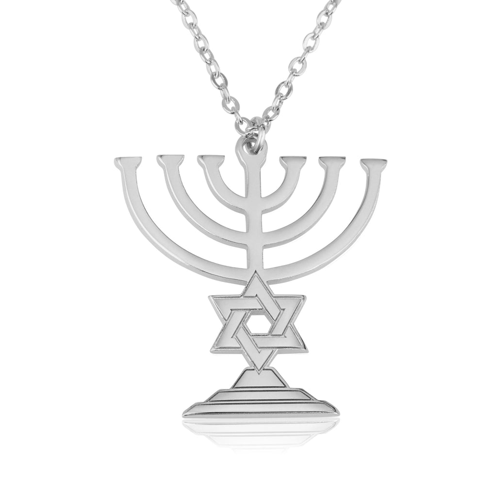 Menorah With Star of David Necklace - Beleco Jewelry
