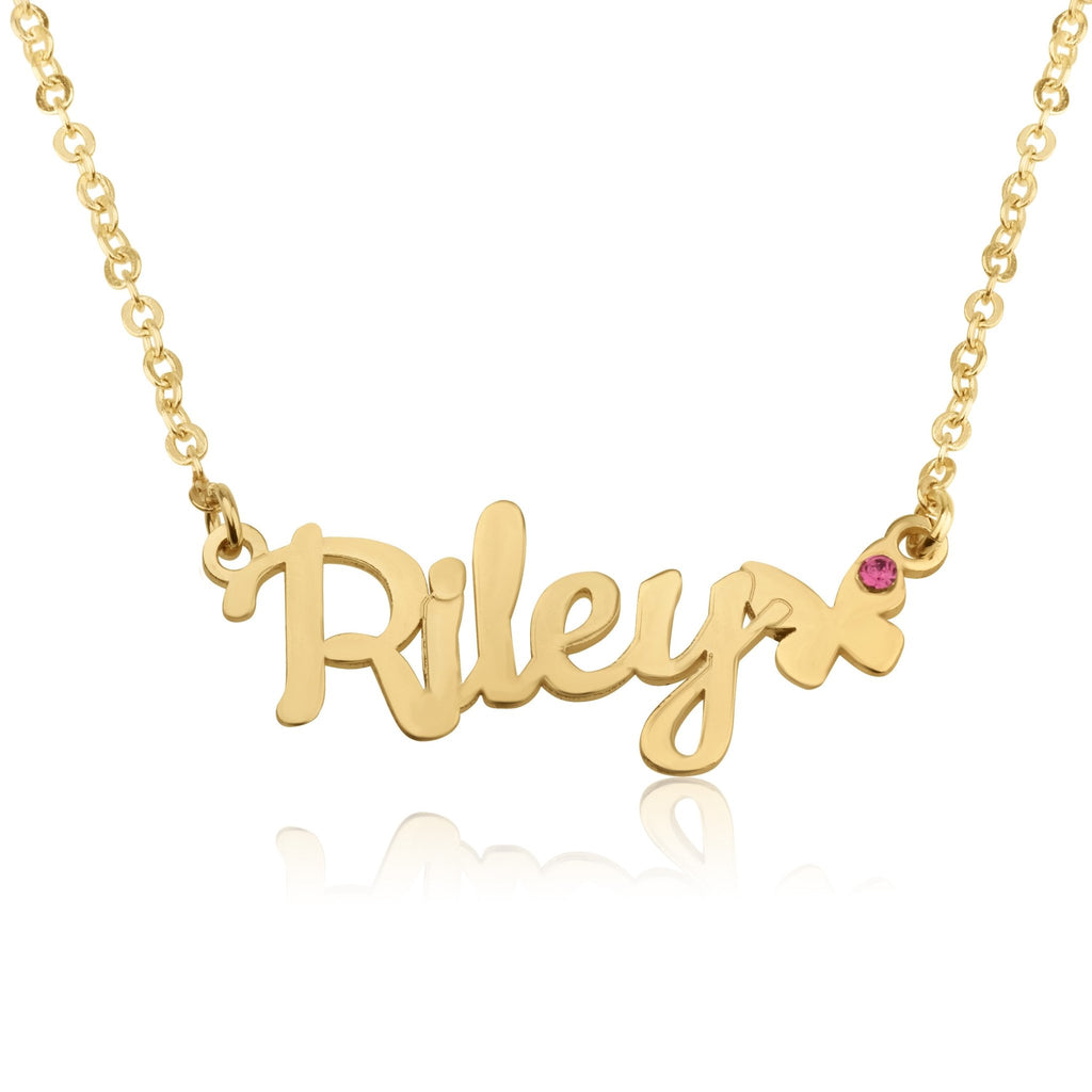 Name Necklace With Butterfly - Beleco Jewelry