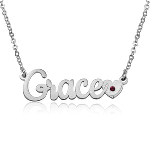 Nameplate Necklace With Heart And Birthstone - Beleco Jewelry