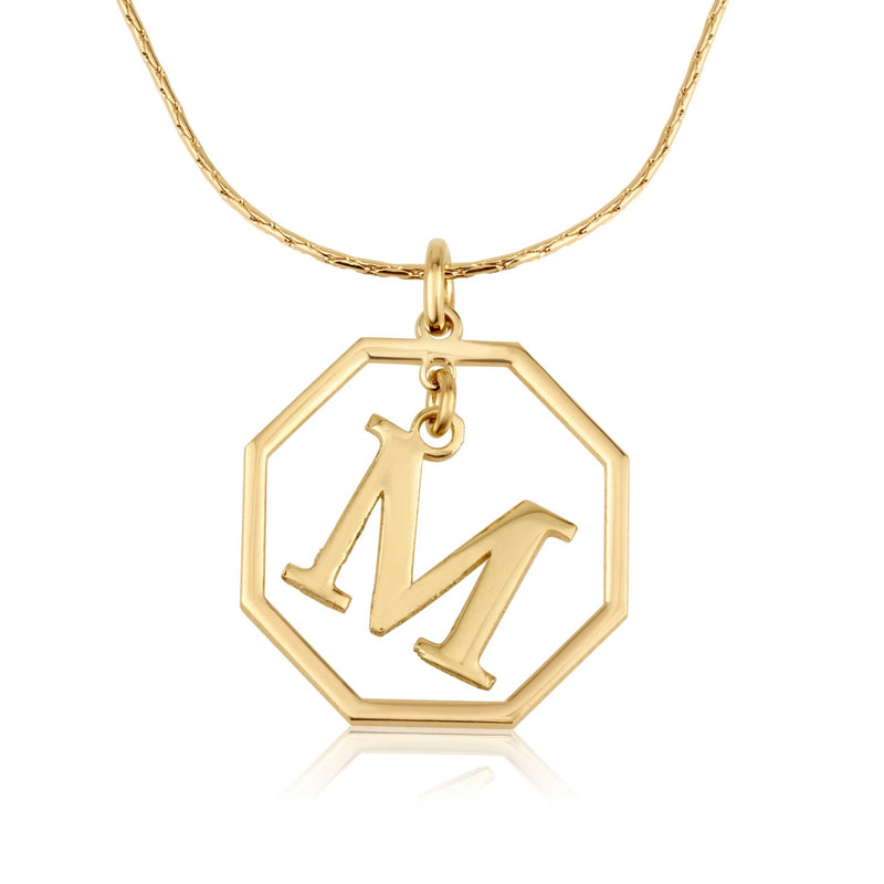 Octagon Initial Necklace - Beleco Jewelry