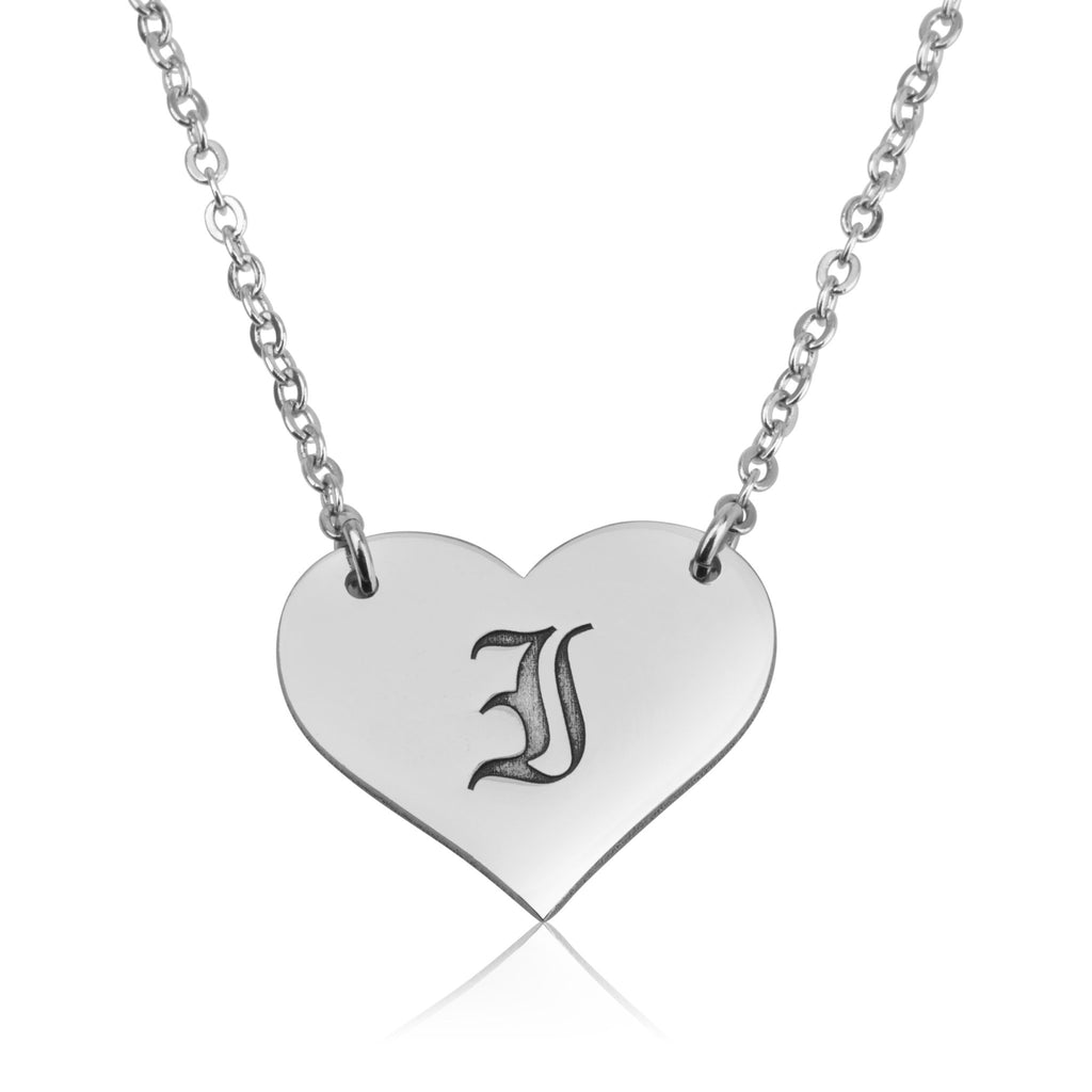Old English Initial Heart Necklace - Beleco Jewelry
