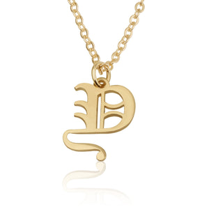 Old English Letter Necklace - Beleco Jewelry