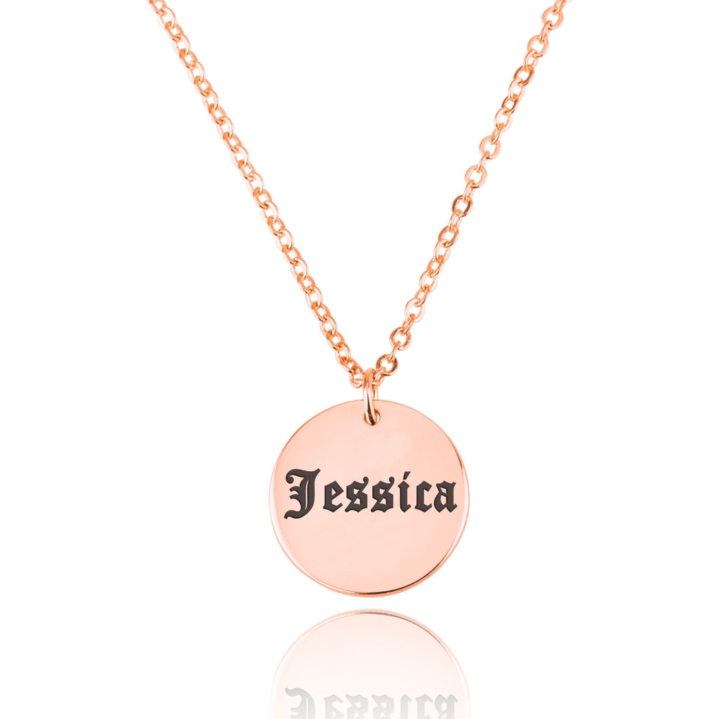 Old English Name Disc Necklace - Beleco Jewelry
