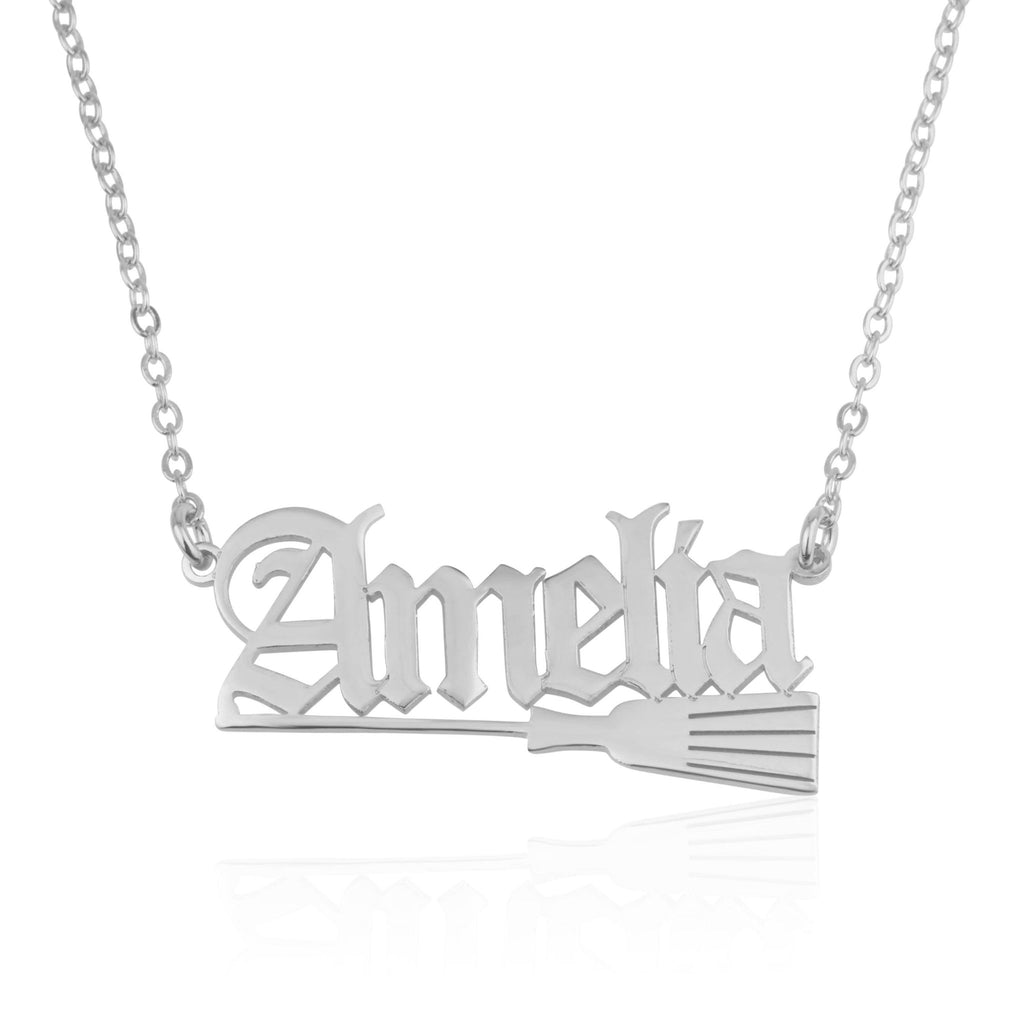 Old English Name Necklace With Broom Witch - Beleco Jewelry