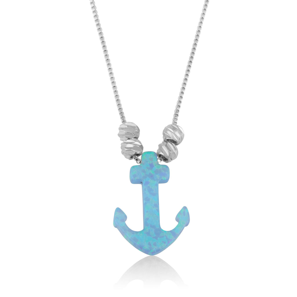 Opal Anchor Necklace - Beleco Jewelry