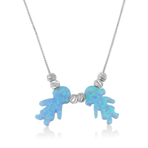 Opal Boy Girl Charms Necklace - Beleco Jewelry