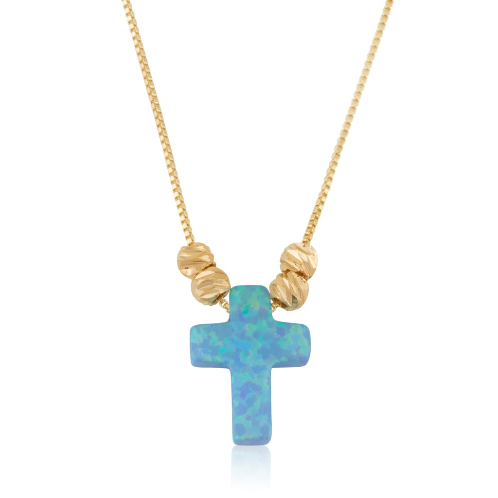 Opal Cross Necklace - Beleco Jewelry