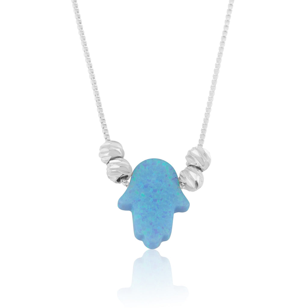 Opal Hamsa Necklace - Beleco Jewelry
