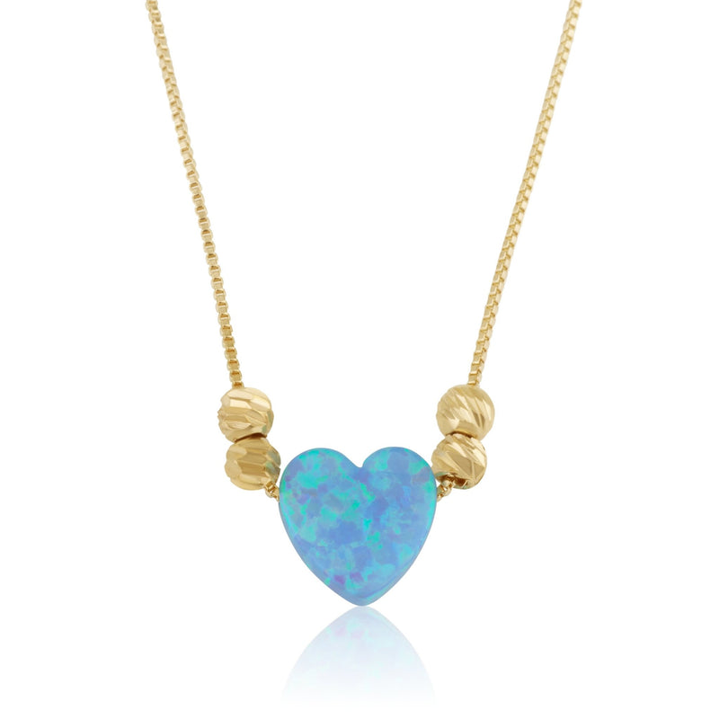 Opal Heart Necklace - Beleco Jewelry