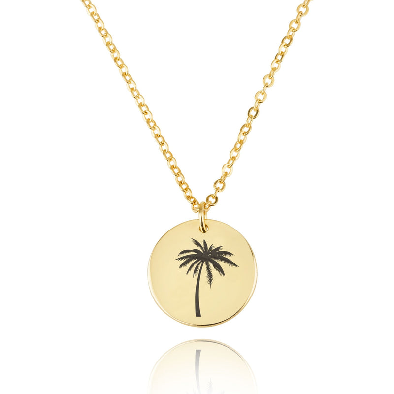 Palm Tree Engraving Disc Necklace - Beleco Jewelry