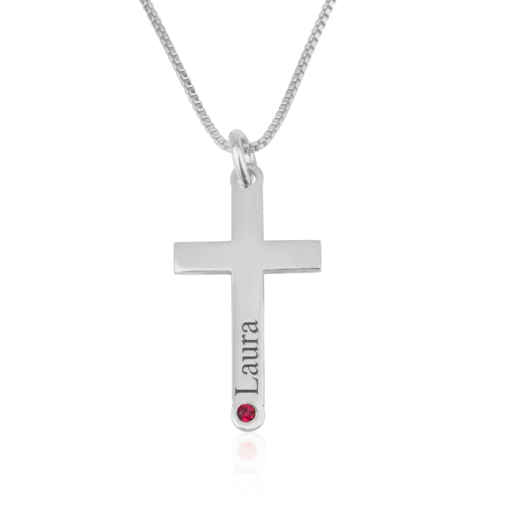 Persoanlized Cross Necklace With Name And Birthstone - Beleco Jewelry