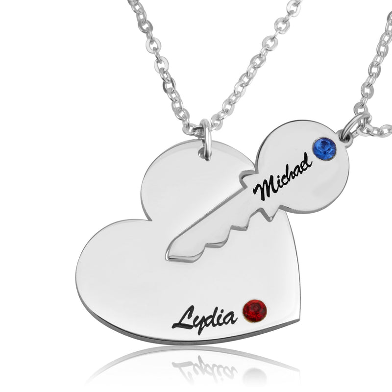 Personalized Couple Necklace With Swarovski Birthstones - Beleco Jewelry