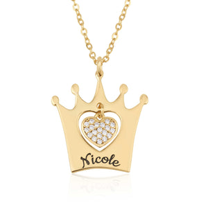 Personalized Crown Necklace With Heart And Name - Beleco Jewelry