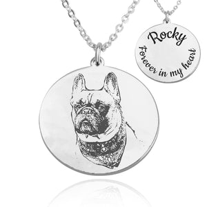 Personalized Dog Photo Engraved Necklace - Beleco Jewelry