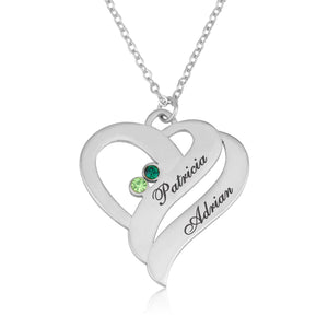 Personalized Heart Necklace With Swarovski Birthstones - Beleco Jewelry