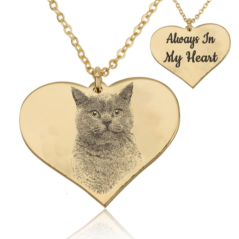 Personalized Heart With Engrave Pet Photo Necklace - Beleco Jewelry