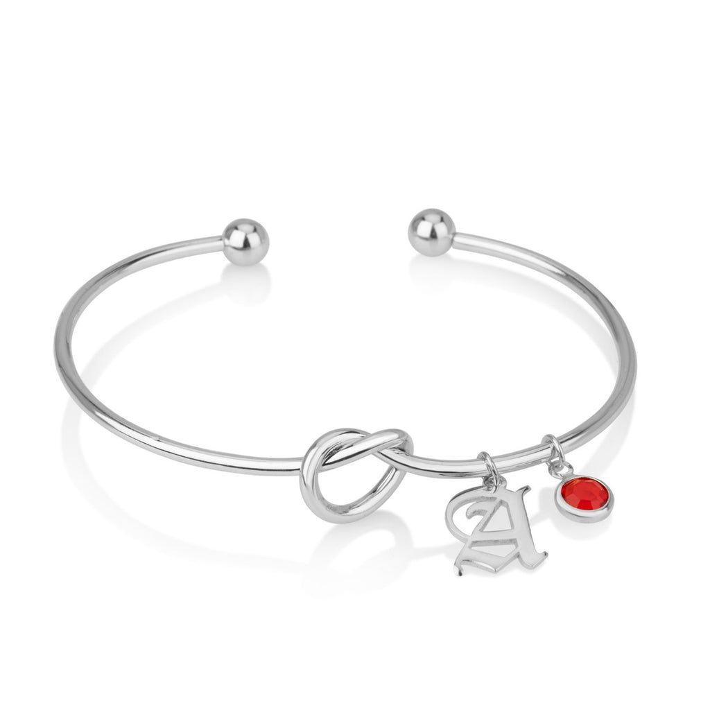Personalized Initial Bracelet With Birthstone - Beleco Jewelry