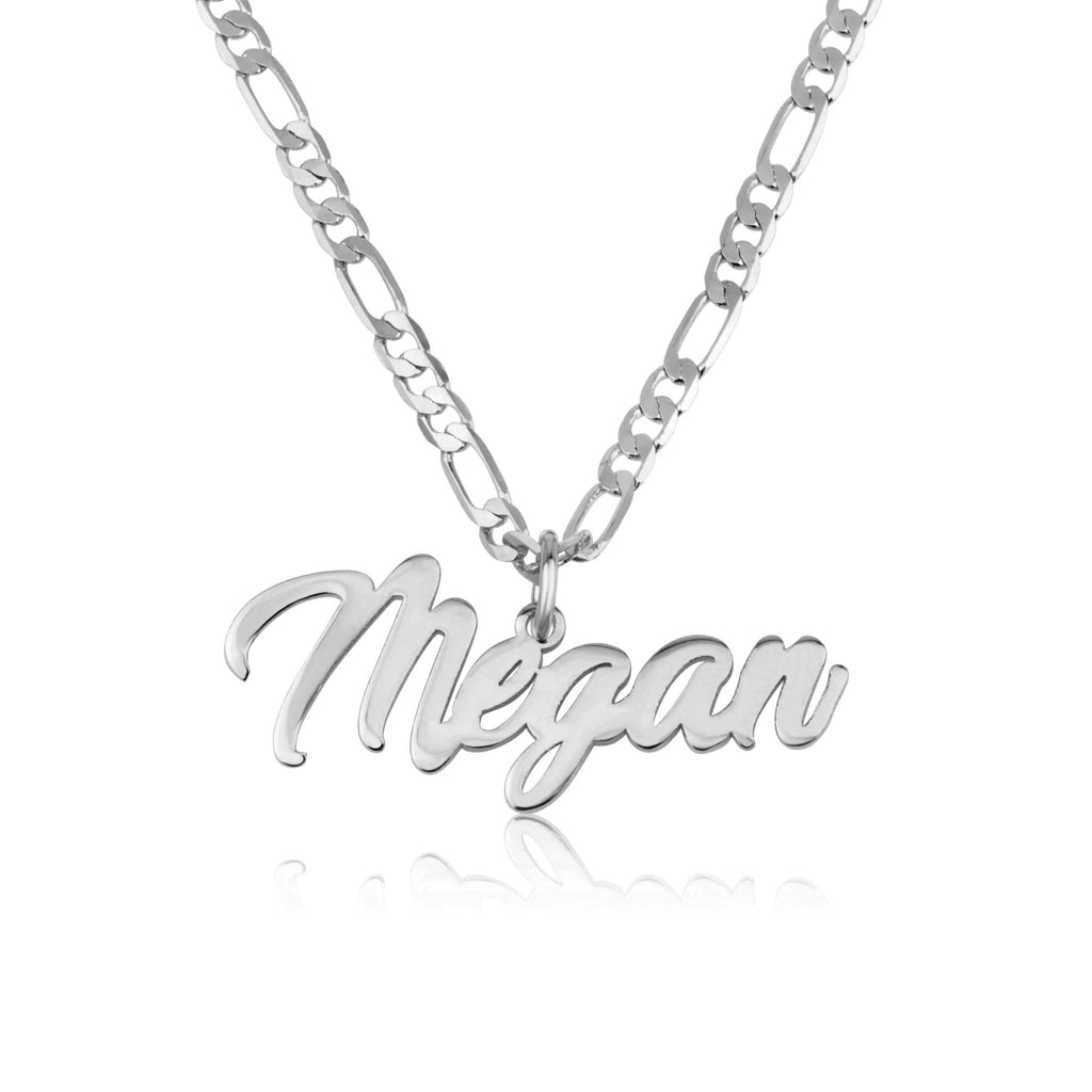 Personalized Name Necklace With Figaro Chain - Beleco Jewelry