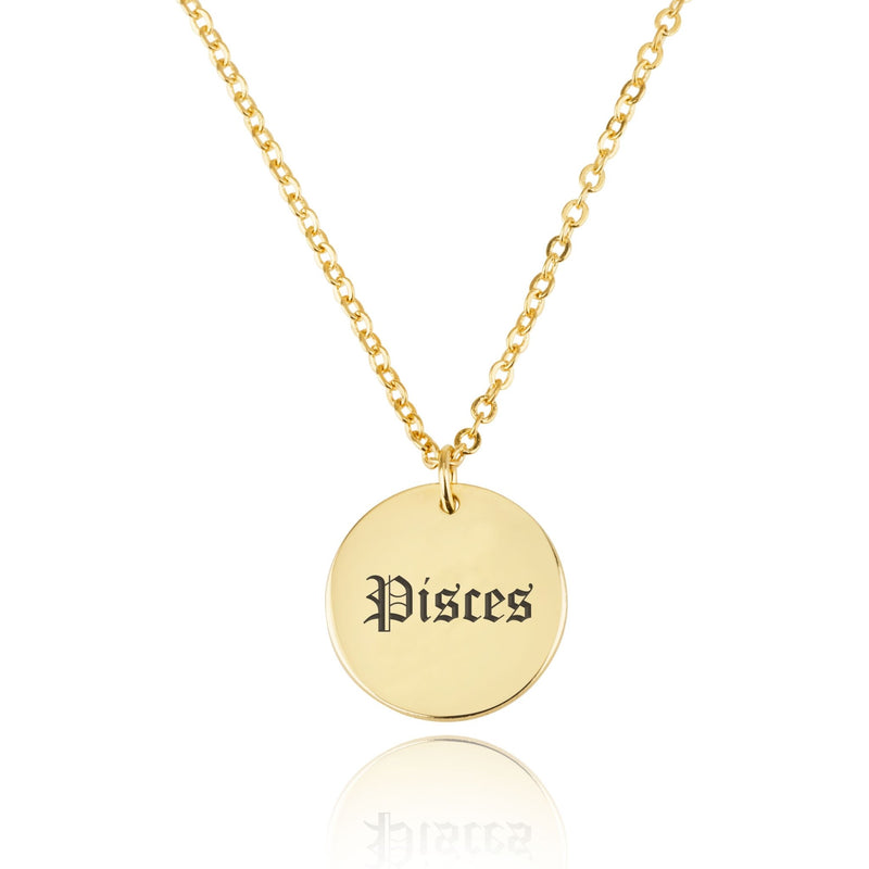 Pisces Script Disk Necklace - Beleco Jewelry