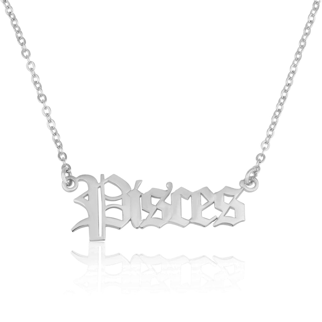 Pisces Script Necklace - Beleco Jewelry