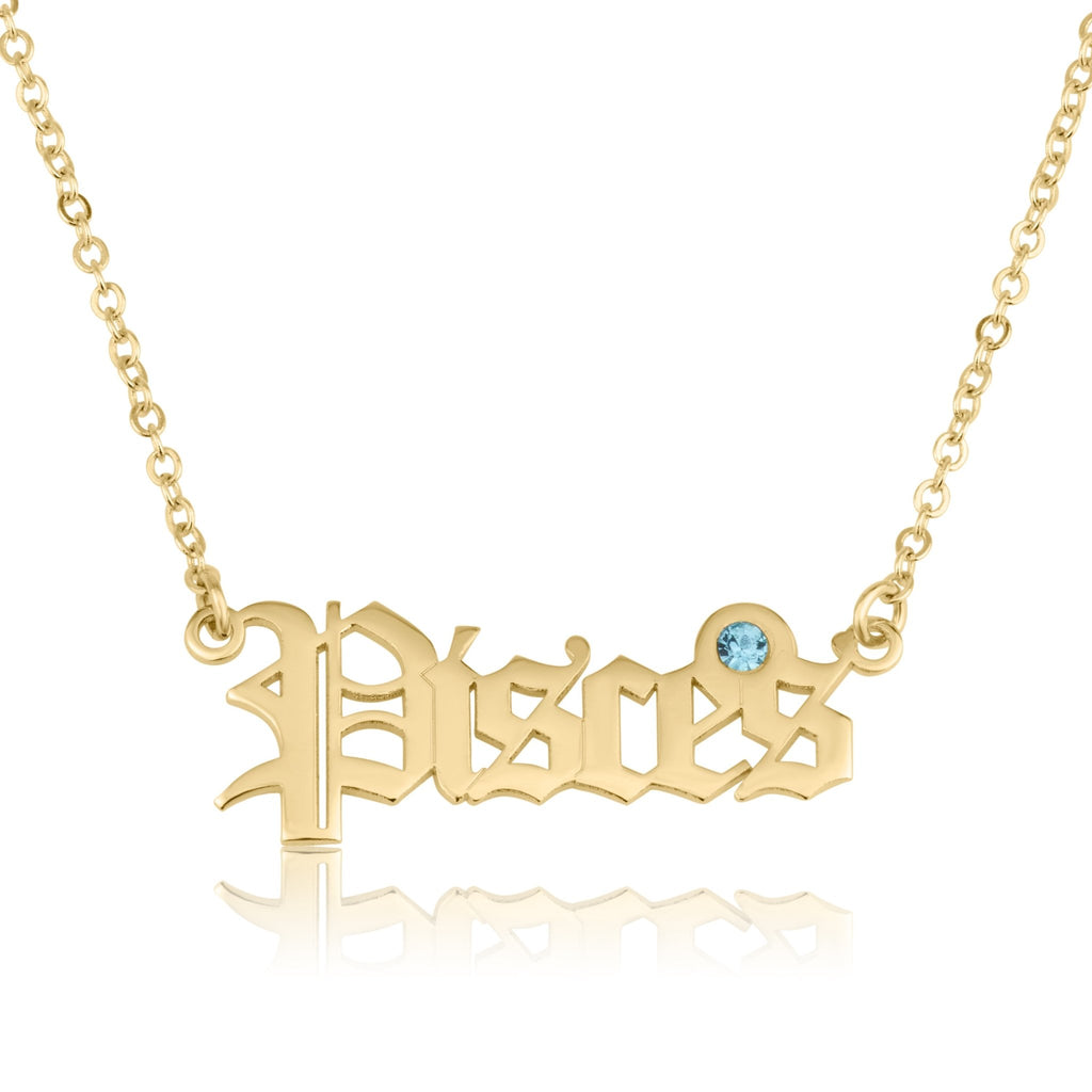 Pisces Script Necklace With Swarovski Birthstone - Beleco Jewelry
