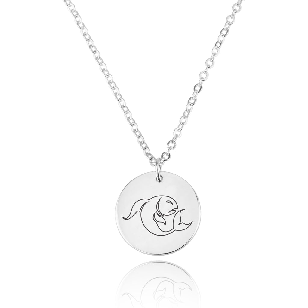 Pisces Zodiac Disk Necklace - Beleco Jewelry