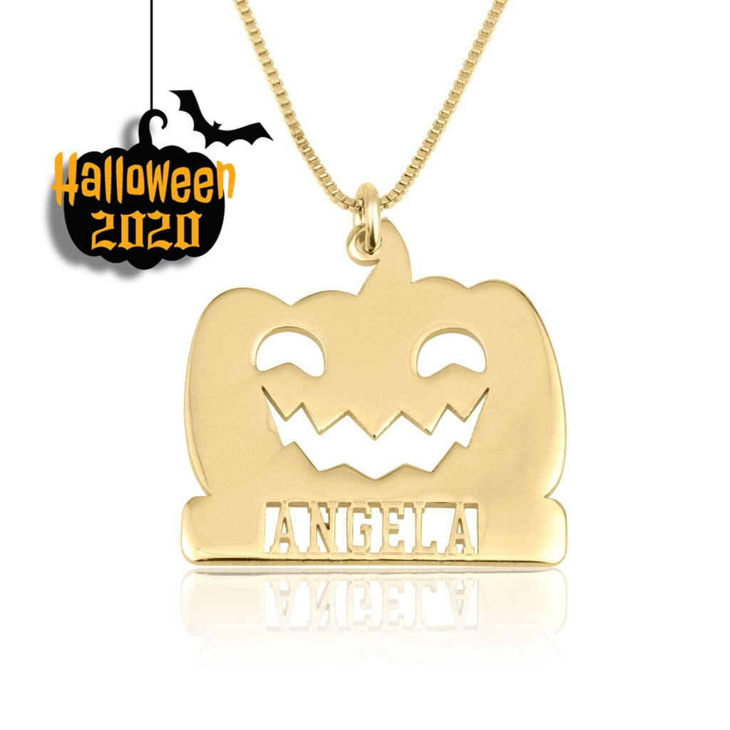Pumpkin Necklace With Name - Beleco Jewelry