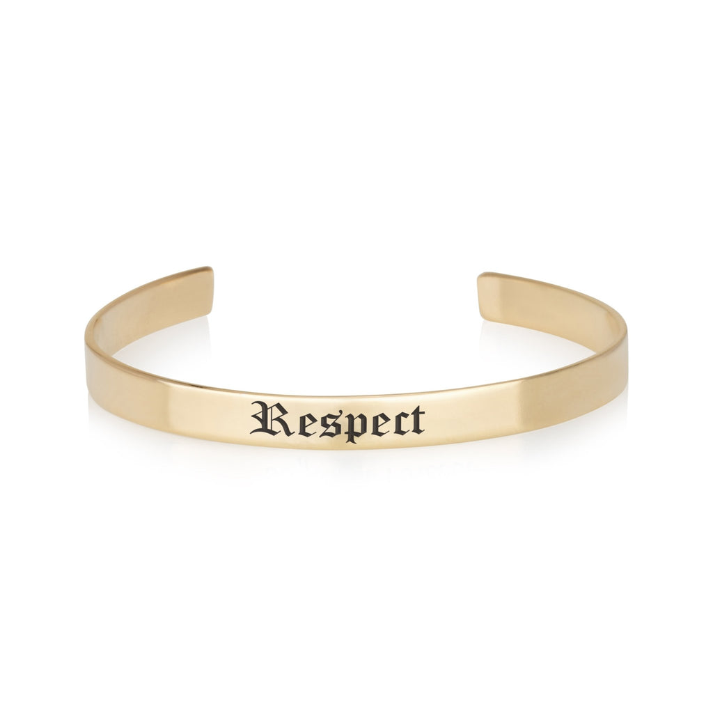 Respect Engraved Cuff Bracelet - Beleco Jewelry