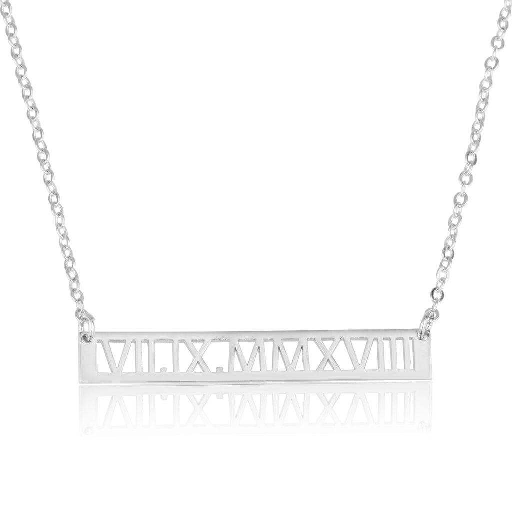 Roman Numeral Bar Necklace - Beleco Jewelry