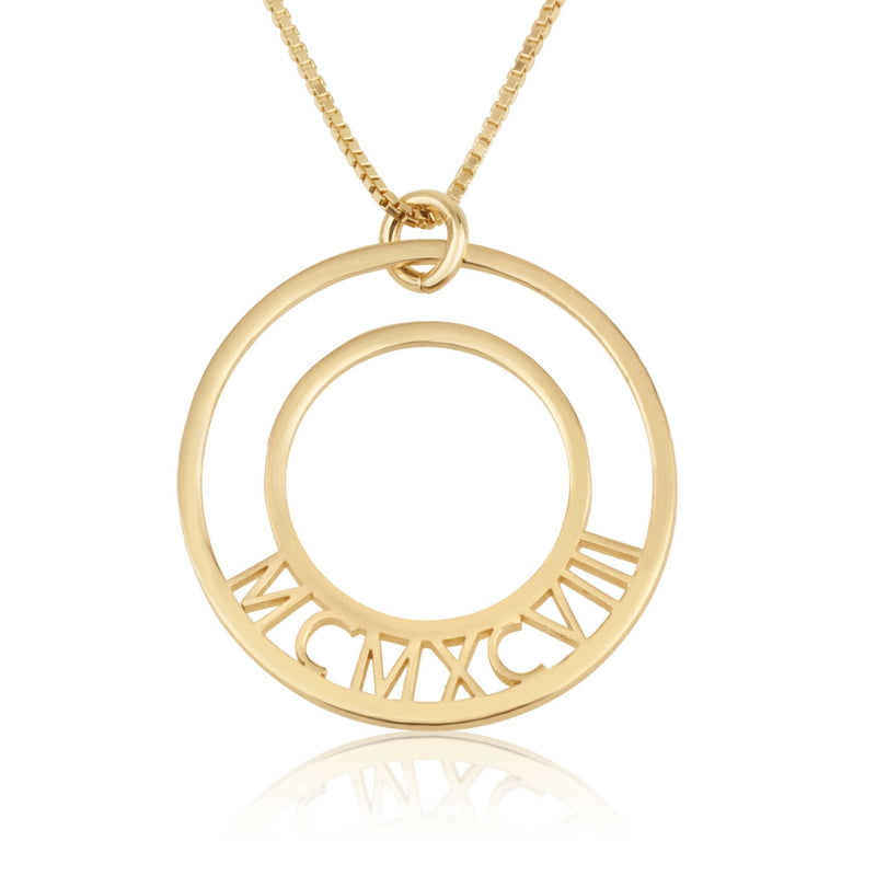 Roman Numeral Birth Year Circle Necklace - Beleco Jewelry