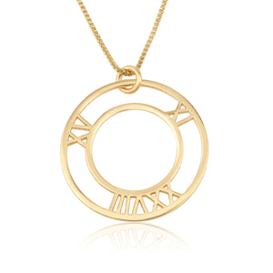 Roman Numeral Circle Necklace - Beleco Jewelry