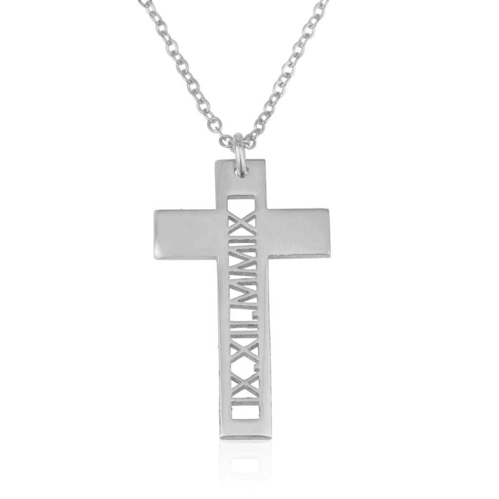 Roman Numeral Cross Necklace - Beleco Jewelry